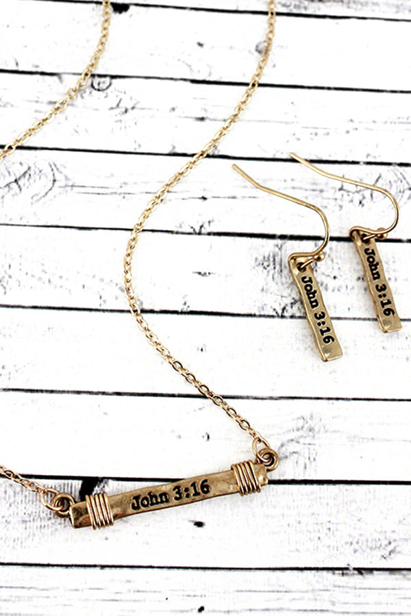 Worn Goldtone 'John 3:16' Wire-Wrapped Bar Necklace and Earring Set