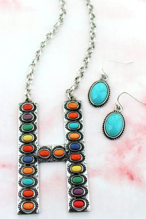 Multi-Color Beaded Silvertone 'H' Initial Necklace and Earring Set