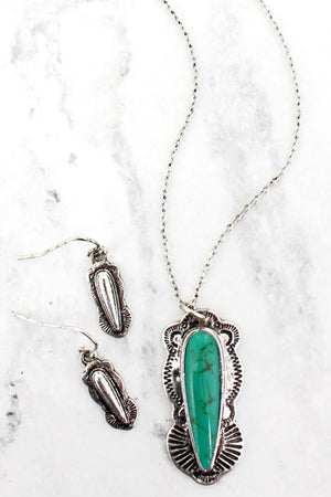 Western Turquoise Spear Necklace and Earring Set