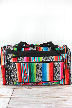 Slithering Serape Duffle Bag with Black Trim 23""