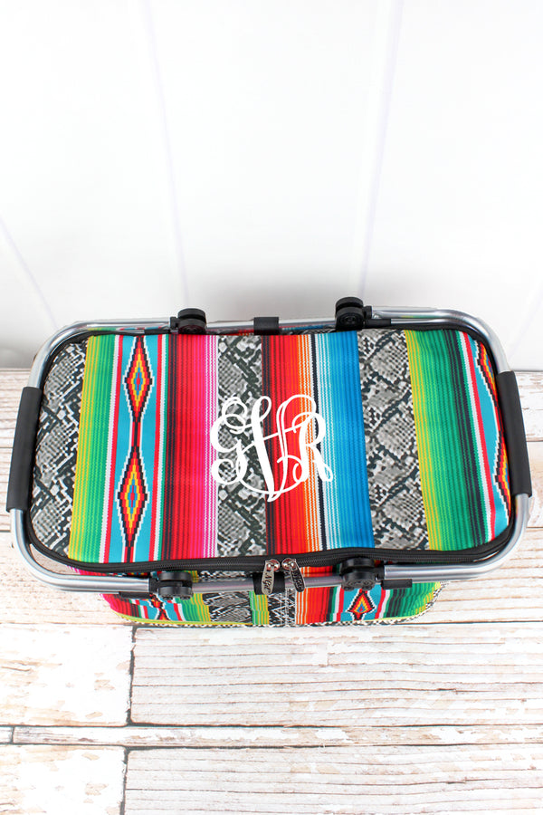 Slithering Serape with Black Trim Collapsible Insulated Market Basket with Lid