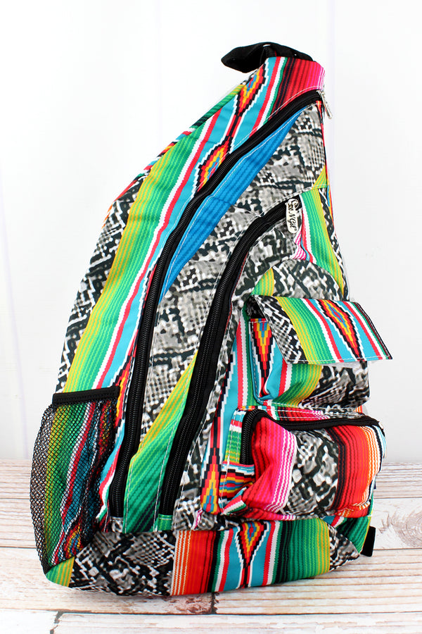 Slithering Serape Sling Backpack with Black Trim