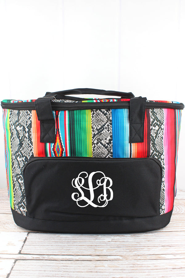 Slithering Serape and Black Cooler Tote with Lid