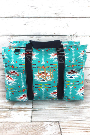 Santa Fe Sunrise with Navy Trim Large Organizer Tote