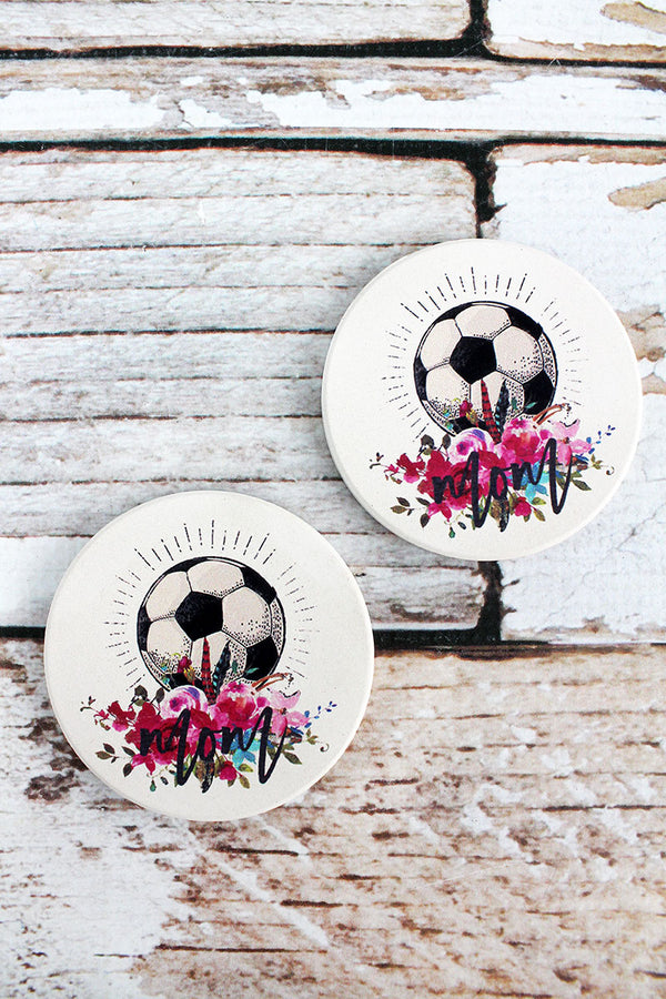 2 Piece Soccer Mom Car Coaster Set