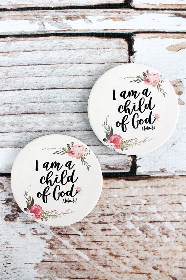 2 Piece Child Of God Car Coaster Set