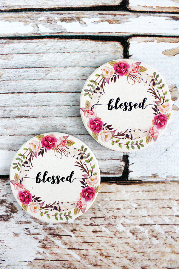 2 Piece Blessed Car Coaster Set