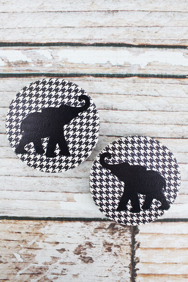 2 Piece Black Elephant Houndstooth Car Coaster Set