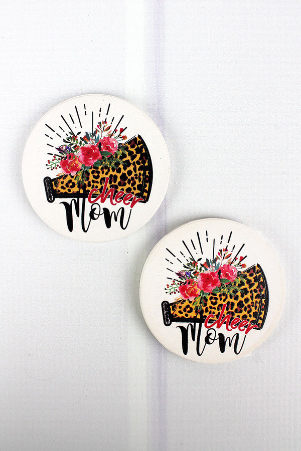 2 Piece Cheer Mom Car Coaster Set