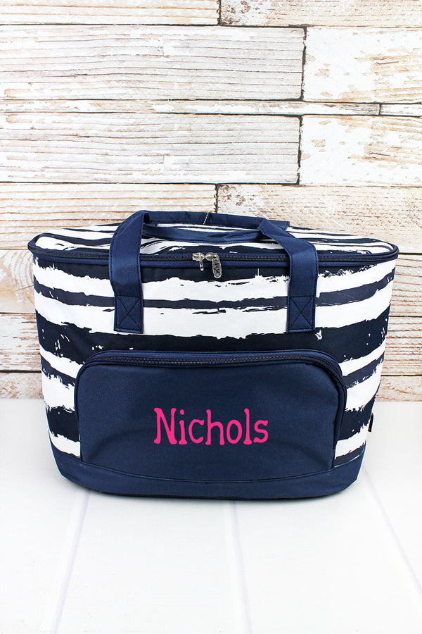 Ocean Breeze and Navy Cooler Tote with Lid