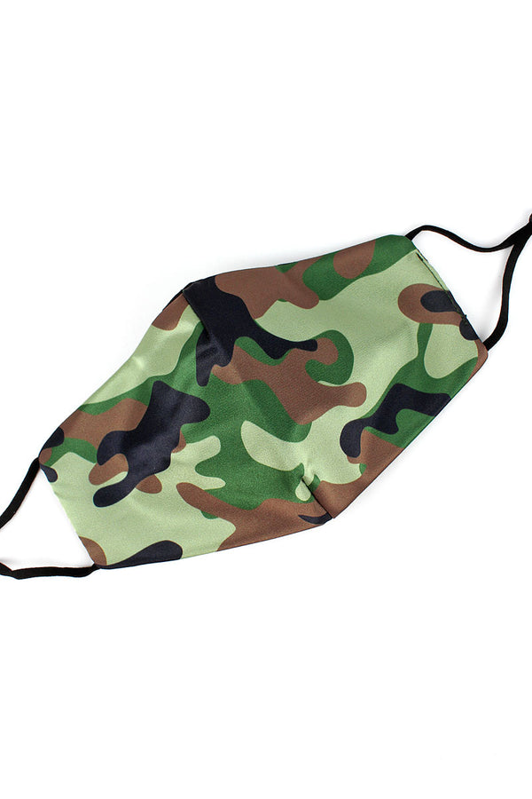 Jungle Camo Two-Layer Fashion Face Mask with Filter Pocket
