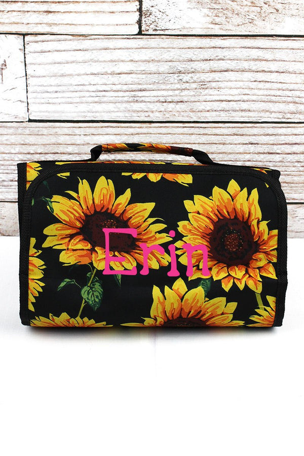 Sunflower Roll Up Cosmetic Bag