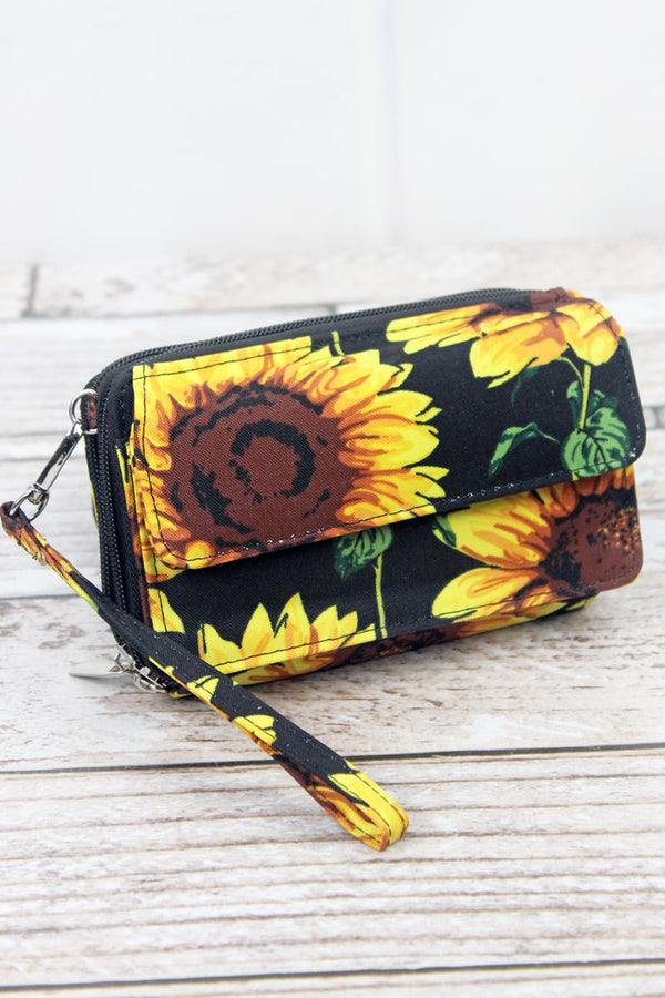 Sunflower Crossbody Organizer Clutch