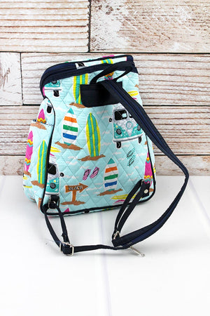 Surf's Up Quilted Petite Backpack with Navy Trim