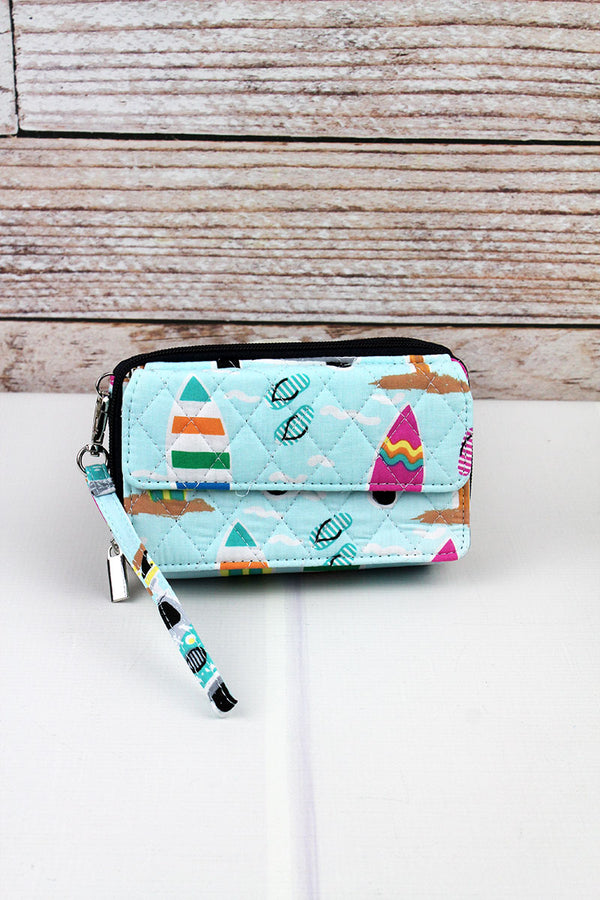 Surf's Up Quilted Crossbody Organizer Clutch