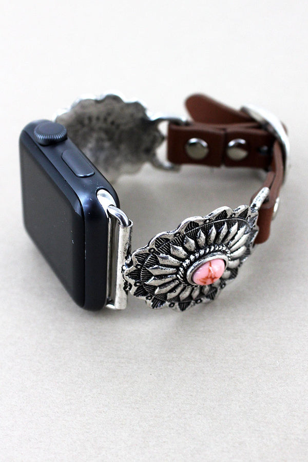 Silvertone with Pink Bead Concho Faux Leather Adjustable Band for Apple Watch
