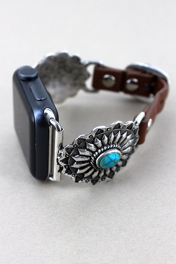 Silvertone with Turquoise Bead Concho Faux Leather Adjustable Band for Apple Watch