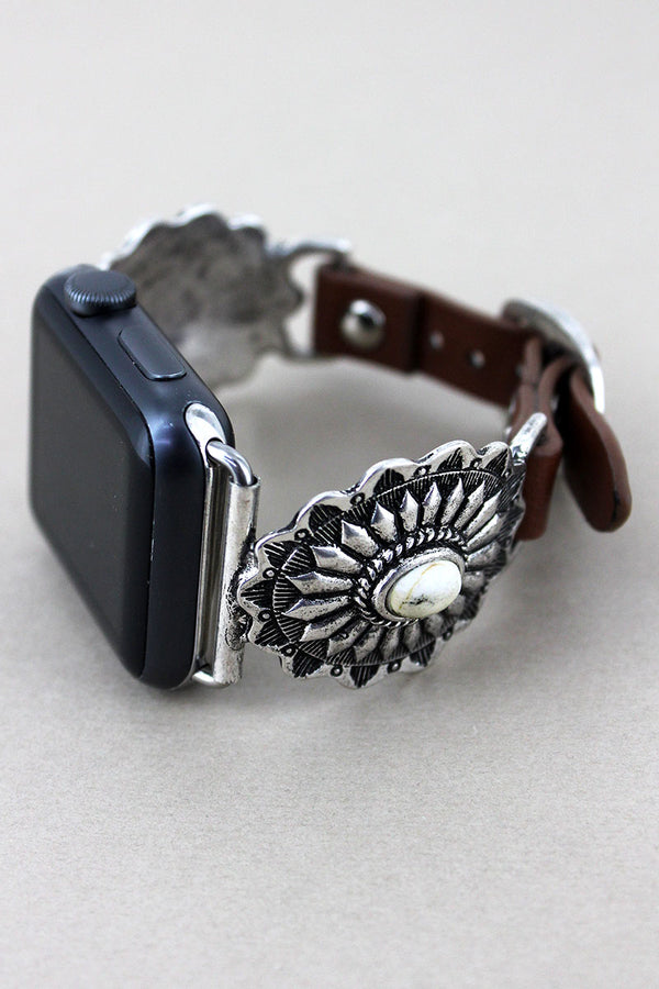 Silvertone with White Bead Concho Faux Leather Adjustable Band for Apple Watch