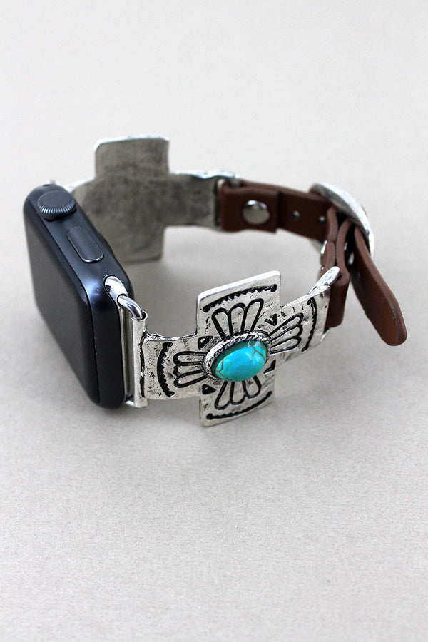 Silvertone with Turquoise Bead Cross Faux Leather Adjustable Band for Apple Watch
