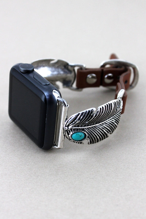 Silvertone with Turquoise Bead Feather Faux Leather Adjustable Band for Apple Watch