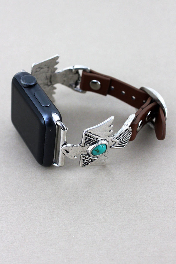 Silvertone with Turquoise Bead Thunderbird Faux Leather Adjustable Band for Apple Watch