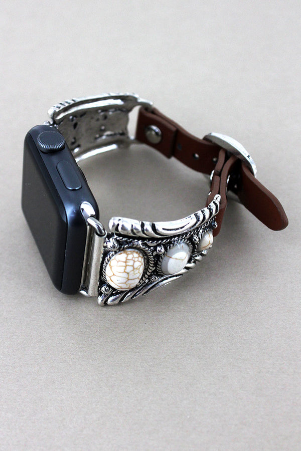 Western White Beaded Silvertone Faux Leather Adjustable Band for Apple Watch