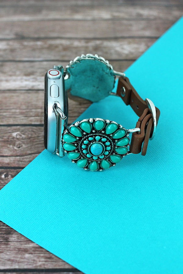 Turquoise Beaded Concho Faux Leather Adjustable Band for Apple Watch, 42mm-44mm