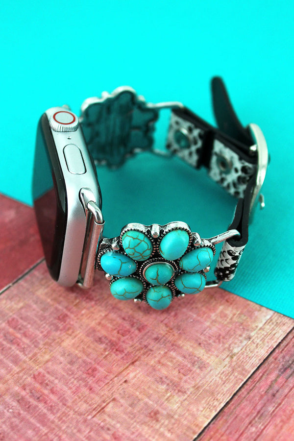Turquoise Beaded Flower and Faux Snakeskin Adjustable Band for Apple Watch