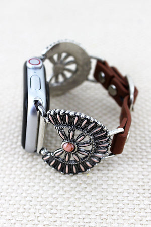 Pink Western Flower Disk Faux Leather Adjustable Band for Apple Watch
