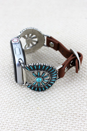 Turquoise Western Flower Disk Faux Leather Adjustable Band for Apple Watch