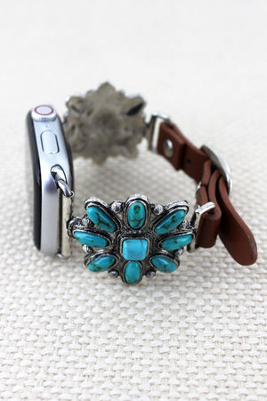 Turquoise Beaded Western Flower Faux Leather Adjustable Band for Apple Watch