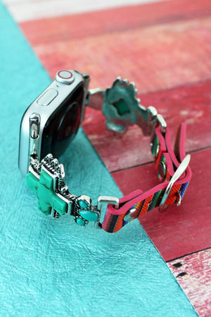 Turquoise Square Cross Serape Adjustable Band for Apple Watch, 38mm-40mm