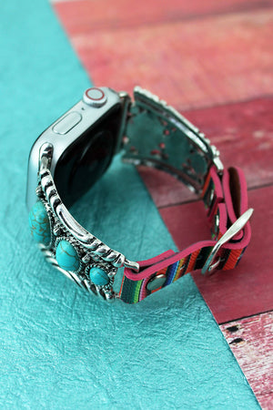 Western Turquoise Beaded Silvertone Serape Adjustable Band for Apple Watch, 38mm-40mm