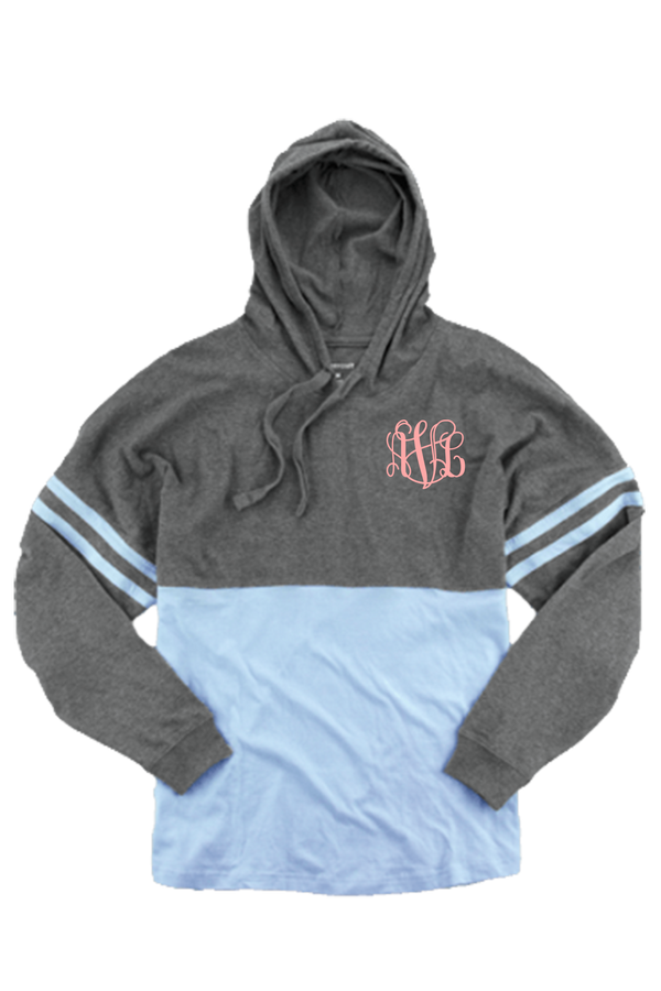 Boxercraft Hooded Pom Pom Jersey, Granite and Carolina Blue *Personalize It