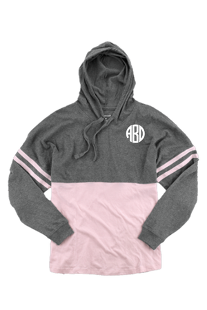 Boxercraft Hooded Pom Pom Jersey, Granite and Pink *Personalize It
