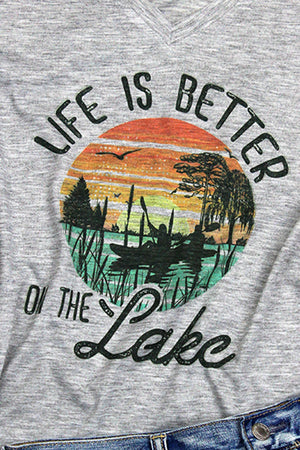 Life Is Better On The Lake Ladies Snow Heather Short Sleeve V-Tee