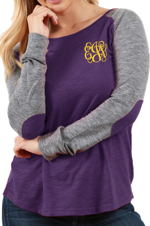 Boxercraft Plus Size Purple and Granite Preppy Patch Tee #T66PGRPLUS *Personalize It