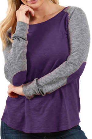 Boxercraft Plus Size Purple and Granite Preppy Patch Tee *Personalize It