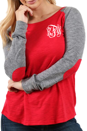 Boxercraft Plus Size Red and Granite Preppy Patch Tee *Personalize It