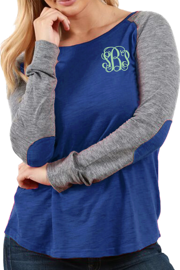 Boxercraft Plus Size Royal and Granite Preppy Patch Tee #T66YGRPLUS *Personalize It