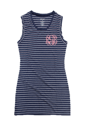 Navy Stripe Sleeveless Dress/Cover Up #T84 *Personalize It
