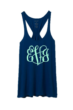 Navy Flare Tank Top #T87N *Personalize It!