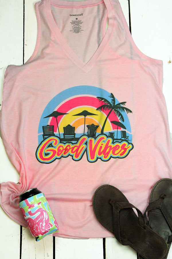 Neon Good Vibes Ladies At Ease Tank