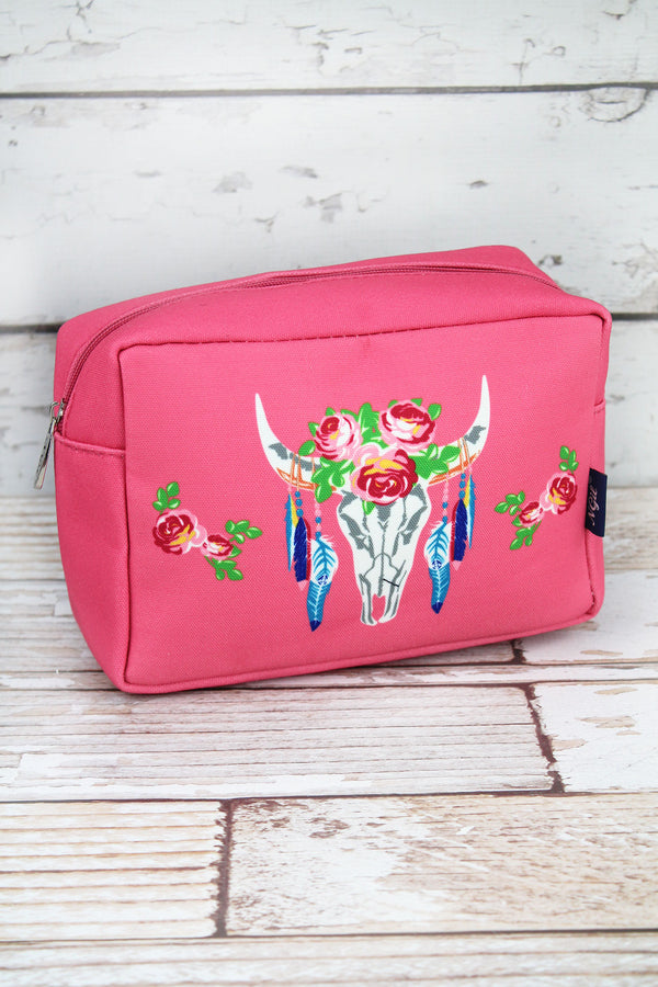 Free Spirit Steer Coral Pink Cosmetic Case