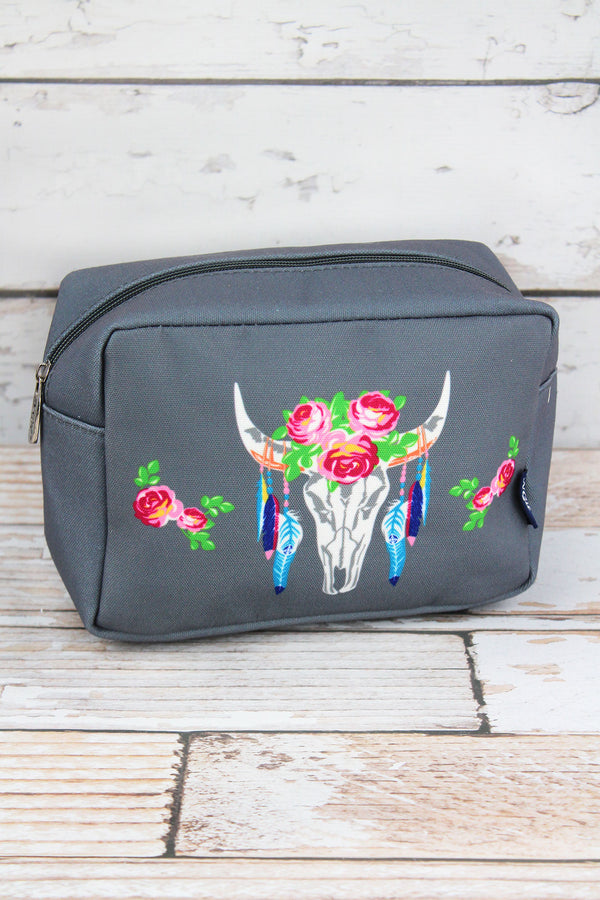 Free Spirit Steer Gray Cosmetic Case