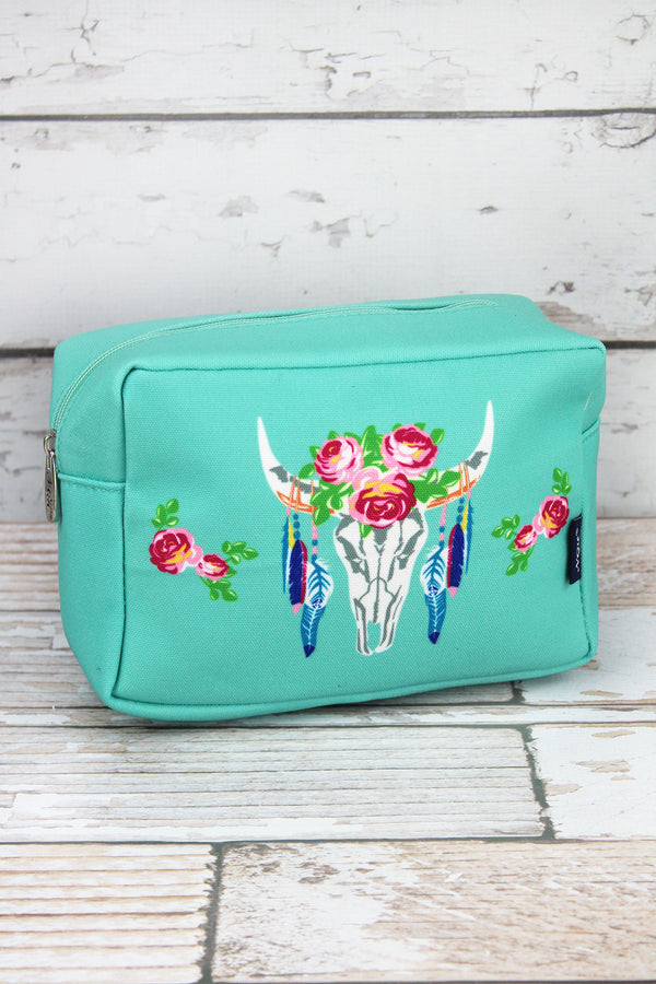Free Spirit Steer Mint Cosmetic Case