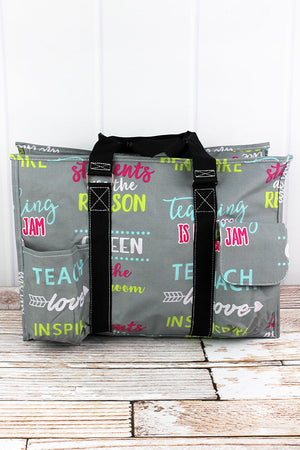 Teacher Life with Black Trim Large Organizer Tote
