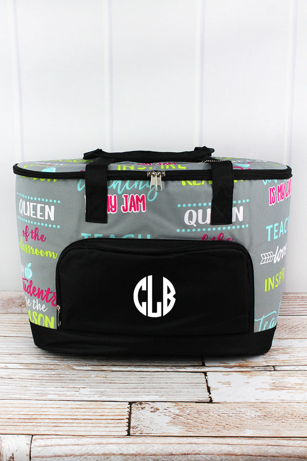 Teacher Life and Black Cooler Tote with Lid