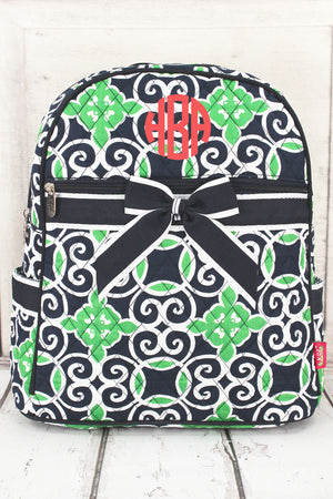 Navy and Green Celtic Swirl Quilted Backpack #THQ2828-NAVY