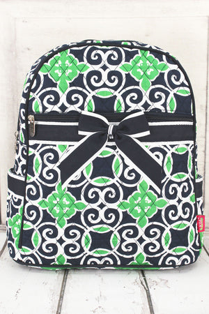Navy and Green Celtic Swirl Quilted Backpack